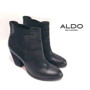 Aldo Black Snakeskin print Heeled Booties